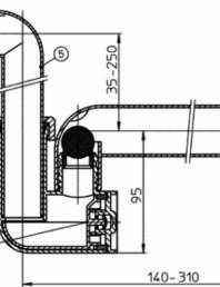 Sifon pentru condens cu racord intrare pozitionat orizontal sau vertical - desen tehnic