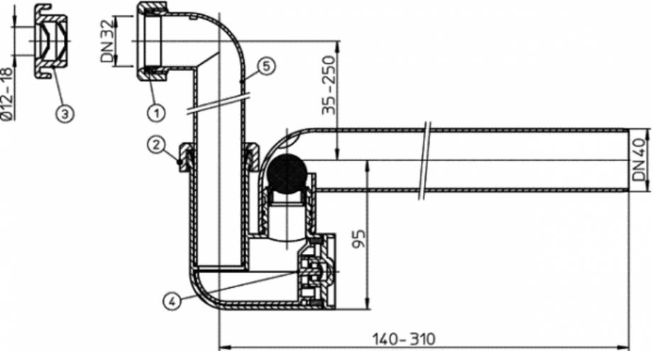 Pagina 1 - Sifon pentru condens cu tuburi transparente - desen tehnic HL Hutterer & Lechner...