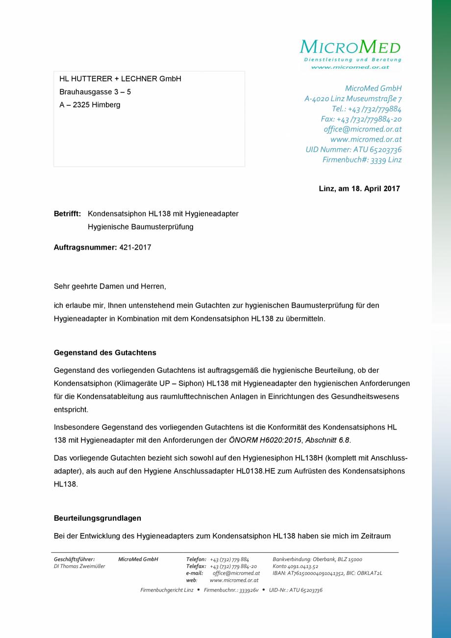 Pagina 1 - Certificat igiena - Sifon pentru condens cu montaj ingropat HL Hutterer & Lechner...