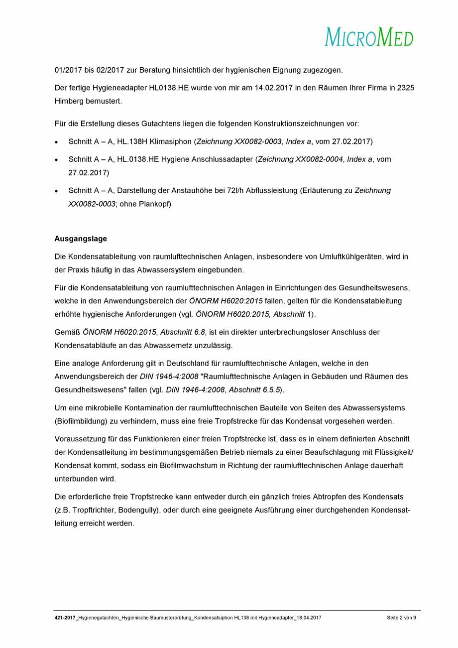 Pagina 2 - Certificat igiena - Sifon pentru condens cu montaj ingropat HL Hutterer & Lechner...