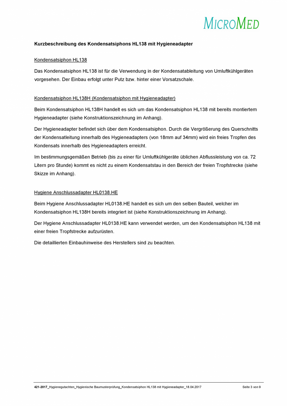 Pagina 3 - Certificat igiena - Sifon pentru condens cu montaj ingropat HL Hutterer & Lechner...
