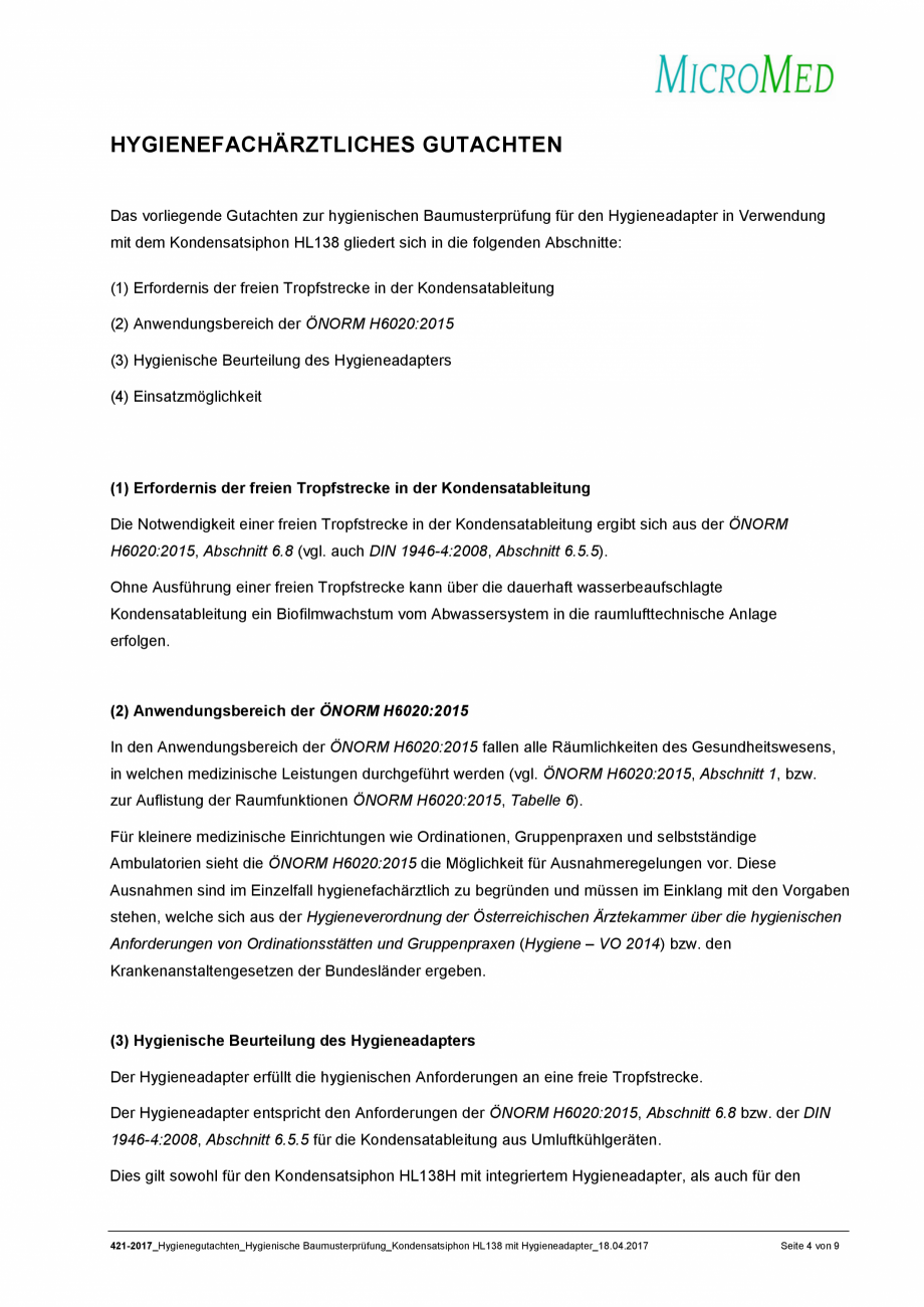 Pagina 4 - Certificat igiena - Sifon pentru condens cu montaj ingropat HL Hutterer & Lechner...