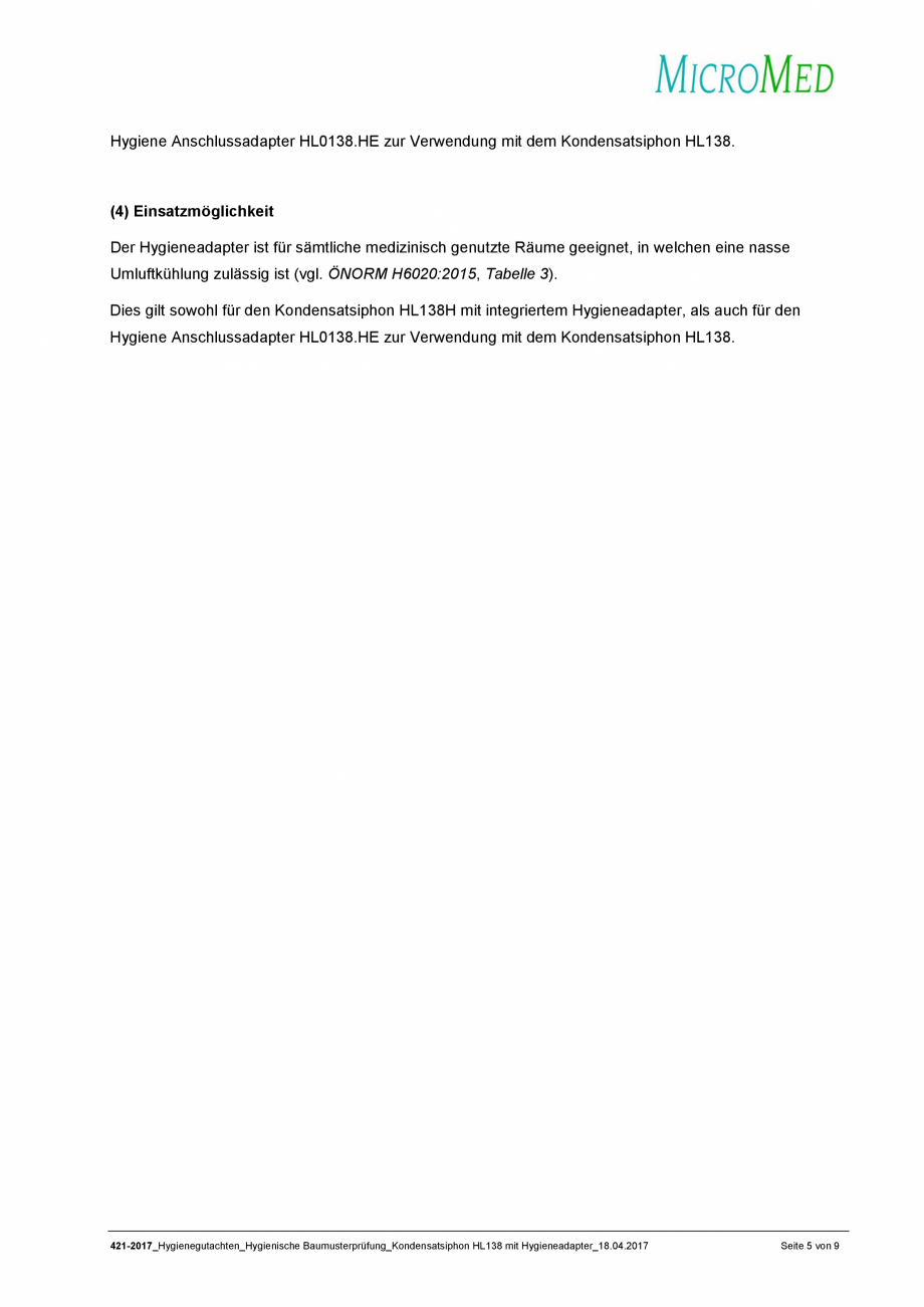 Pagina 5 - Certificat igiena - Sifon pentru condens cu montaj ingropat HL Hutterer & Lechner...