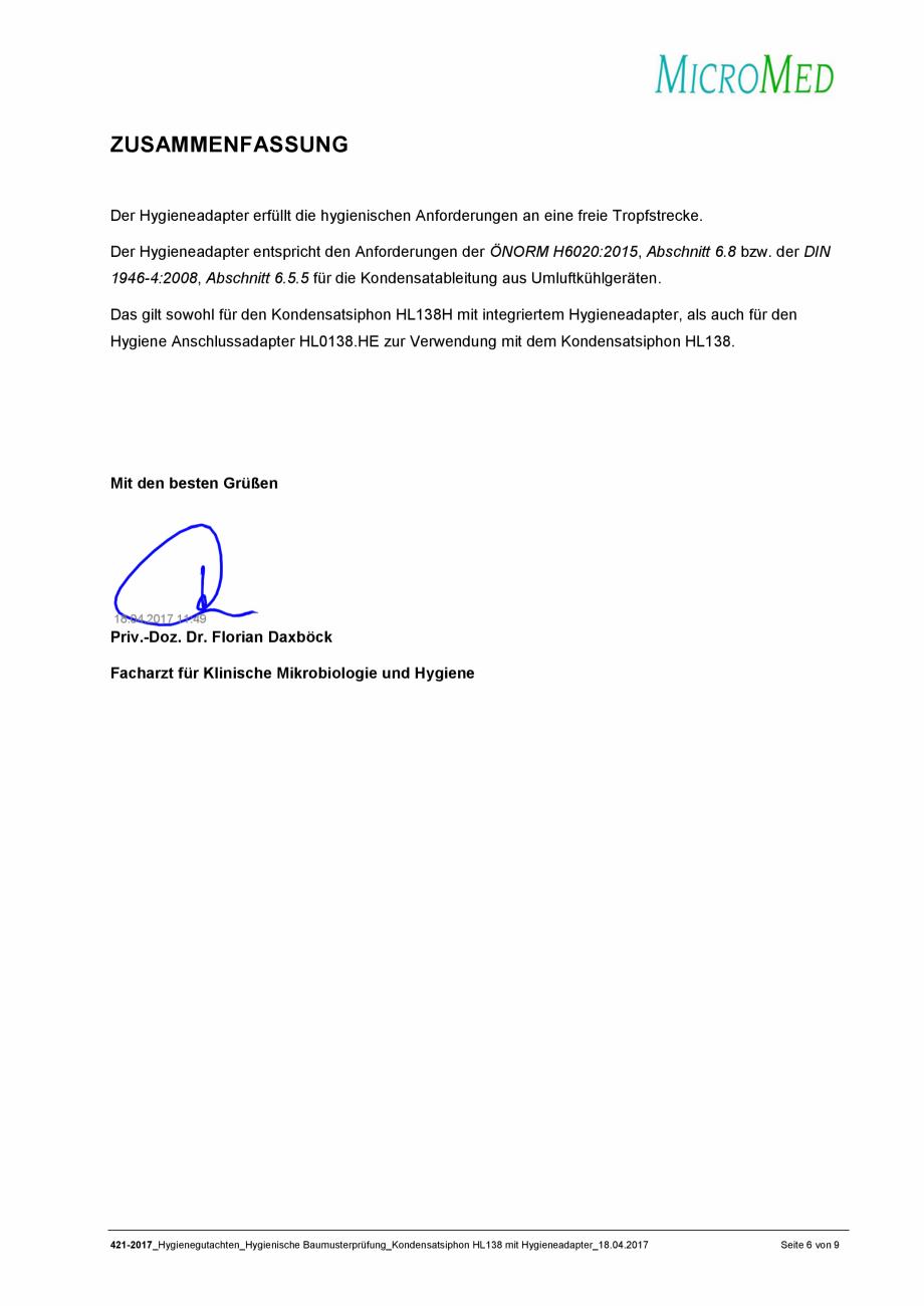 Pagina 6 - Certificat igiena - Sifon pentru condens cu montaj ingropat HL Hutterer & Lechner...