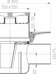 Desen tehnic - Corp sifon de pardoseala DN75 110 cu iesire orizontala cu flansa de izolatie