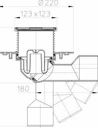 Desen tehnic - Sifon de pardoseala DN50/75, cu articulatie, obturator de mirosuri