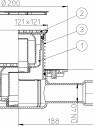Desen tehnic - Sifon pardoseala DN40/50 orizontal cu obturator de mirosuri Primus - 3120