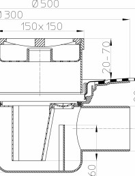 Desen tehnic - Sifon de pardoseala DN75/110, cu iesire orizontala, cu manseta din bitum, plastic