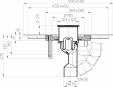 Desen tehnic - Sifon de pardoseala DN50 75 cu articulatie cu guler din beton polimer CeraDrain