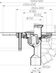 Desen tehnic - Sifon de pardoseala DN50/75, cu articulatie, cu guler din beton polimer CeraDrain