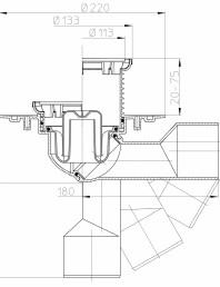 Desen tehnic - Sifon de pardoseala DN50 75 cu articulatie cu obturator de mirosuri suport gratar