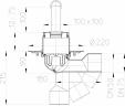 Desen tehnic - Sifon de pardoseala DN50 75 cu articulatie cu obturator de mirosuri cu ventil
