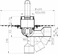 Desen tehnic - Sifon de pardoseala DN50 75 cu articulatie cu manseta din bitum cu obturator