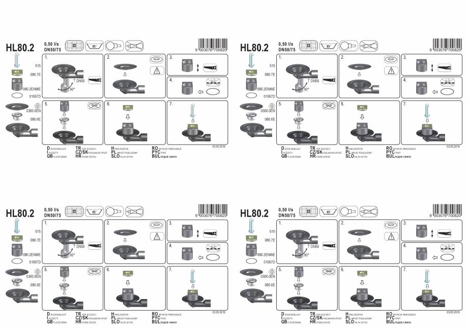 Pagina 1 - Exemplu montaj: Sifon pardoseala DN50/75, cu articulatie, cu obturator de mirosuri, cu...