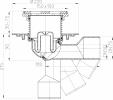 Desen tehnic - Sifon de pardoseala DN50 75 din fonta cu articulatie cu obturator de mirosuri