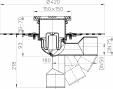 Desen tehnic - Sifon de pardoseala DN50 75 cu articulatie cu manseta din bitum si obturator