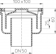 Desen tehnic - Sifon de pardoseala DN50 vertical 94 x 94 mm din plastic HL Hutterer