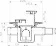 Desen tehnic - Sifon de pardoseala DN50 cu intrare orizontala DN40 50 cu suport gratar rotund