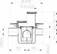 Desen tehnic - Sifon de pardoseala DN50 cu trei intrari DN40 123 x 123mm 115 x