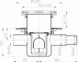 Desen tehnic - Sifon de pardoseala cu intrare orizontala DN40 50 fonta HL Hutterer & Lechner