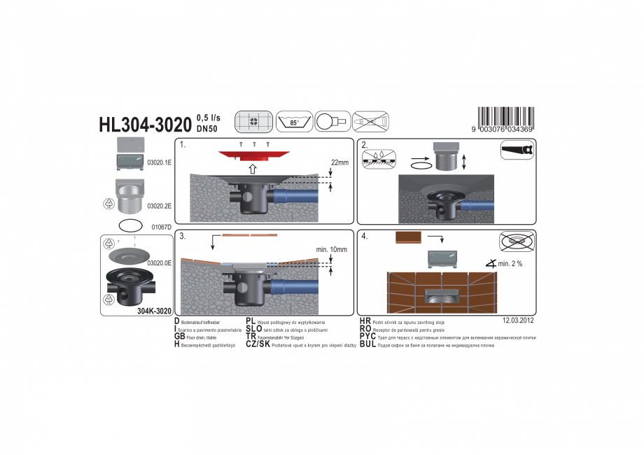 Pagina 1 - Exemplu montaj: Sifon pardoseala DN50 cu trei intrari DN40, 123 x 123mm / 115 x 115 mm - ...