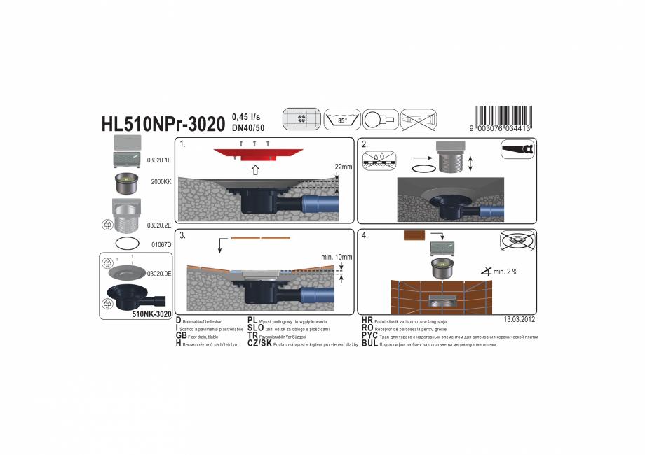 Pagina 1 - Exemplu montaj: Sifon pardoseala DN40/50 orizontal cu obturator mirosuri Primus si capac ...