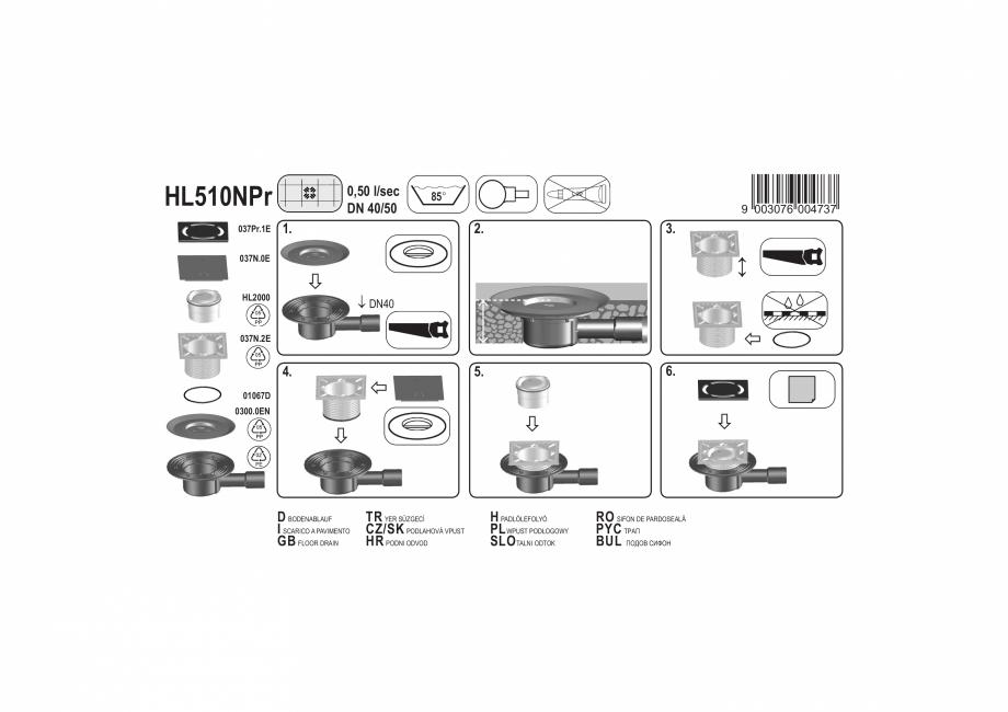 Pagina 1 - Exemplu montaj: Sifon pardoseala DN40/50 cu iesire verticala cu obturator de mirosuri...