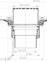 Desen tehnic: Receptor pentru acoperis circulabil cu clema si element incalzire HL62.1B/2