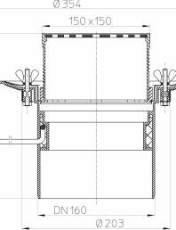 Desen tehnic: Receptor pentru acoperis circulabil cu clema si element incalzire HL62.1B/5