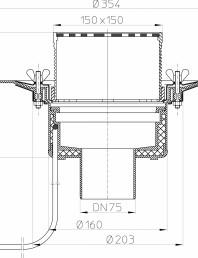 Desen tehnic: Receptor pentru acoperis circulabil cu clema si element incalzire HL62.1B/7
