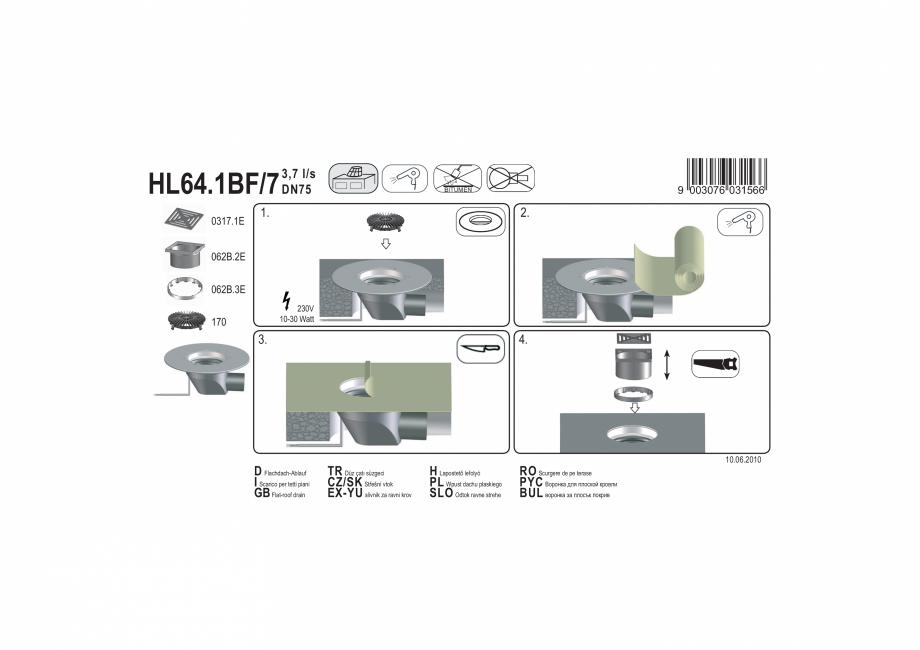 Pagina 1 - Exemplu montaj: Receptor pentru acoperis cu scurgere orizontala, cu guler din PP, element...