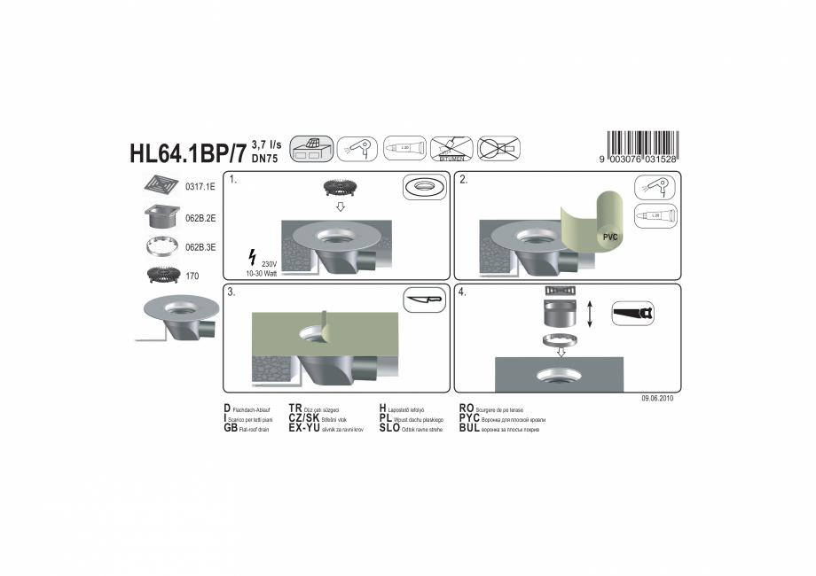 Pagina 1 - Exemplu montaj: Receptor cu scurgere orizontala pentru acoperis, cu guler din PP,...