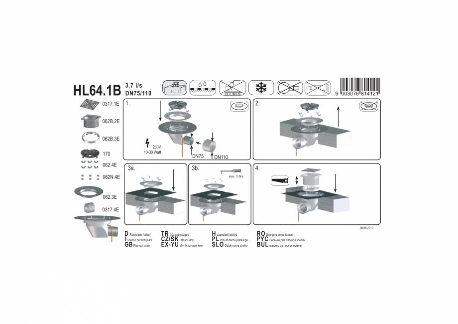 Pagina 1 - Exemplu montaj: Receptor cu iesire orizontala pentru acoperis circulabil, cu element de...