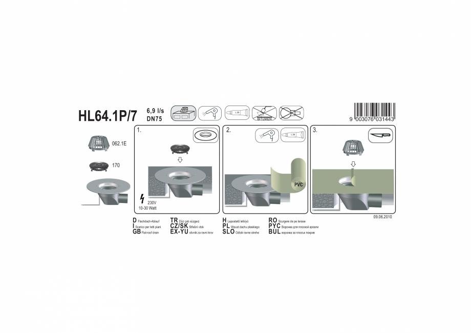 Pagina 1 - Exemplu montaj: Receptor cu scurgere orizontala pentru acoperis, cu guler din PP si...