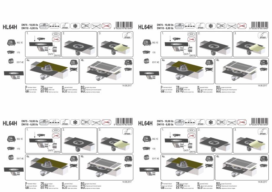 Pagina 1 - Exemplu montaj: Receptor cu iesire orizontala pentru acoperis DN75/110, cu manseta din...
