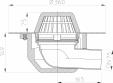 Desen tehnic Receptor cu scurgere orizontala pentru acoperis cu guler din PP HL64P 7 HL Hutterer