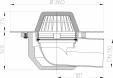 Desen tehnic Receptor cu scurgere orizontala pentru acoperis cu guler din PP HL64P 1 HL Hutterer