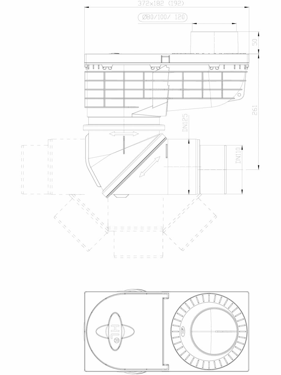 Pagina 1 - CAD-DXF Caseta ape pluviale cu racord de evacuare orientabil HL Hutterer & Lechner...