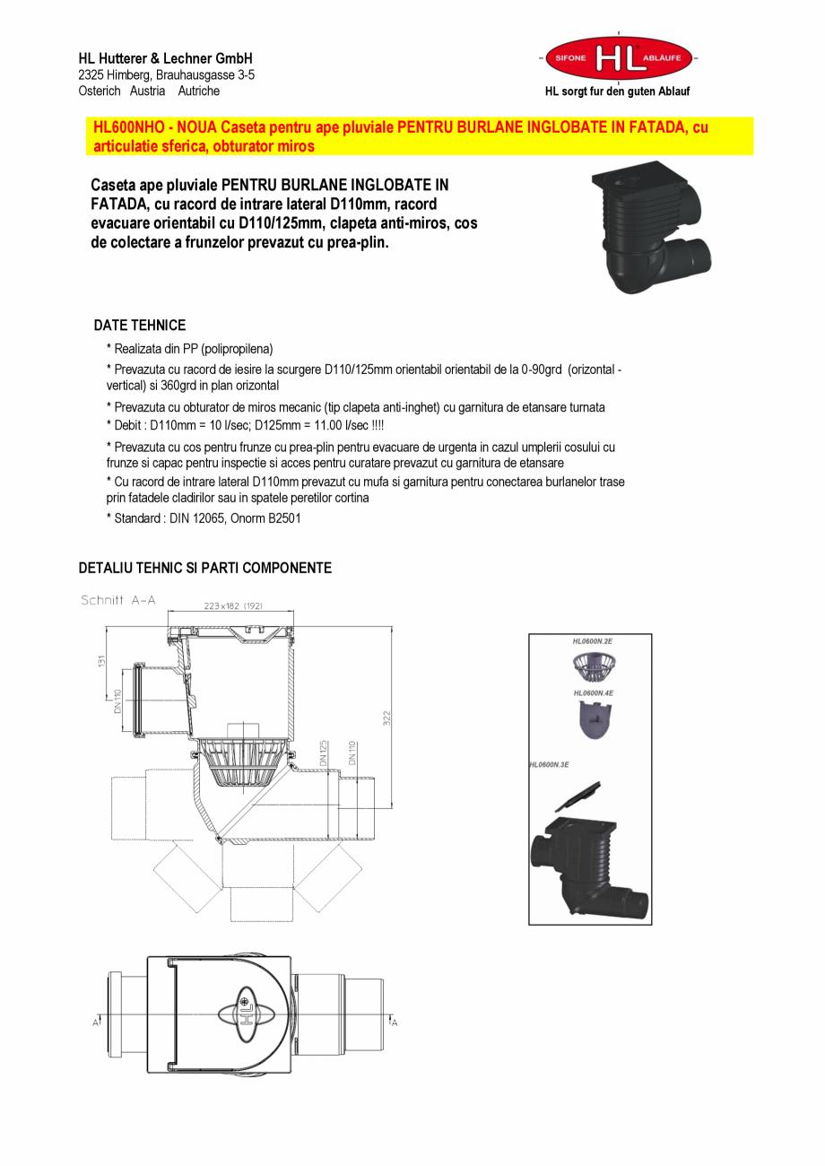 Pagina 1 - Caseta ape pluviale pentru burlane inglobate in fatada HL Hutterer & Lechner HL600NHO...