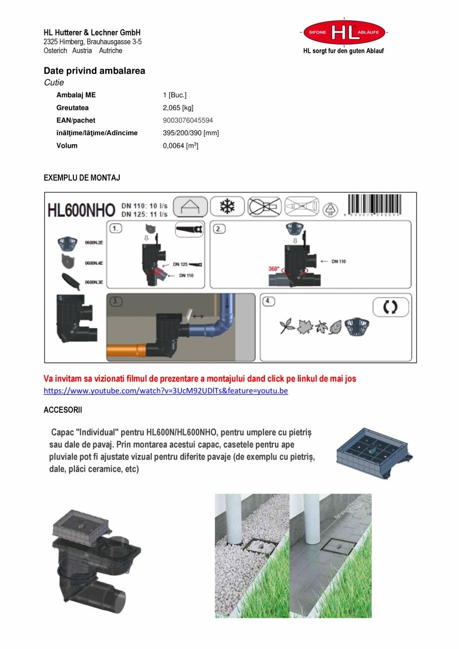 Pagina 2 - Caseta ape pluviale pentru burlane inglobate in fatada HL Hutterer & Lechner HL600NHO...