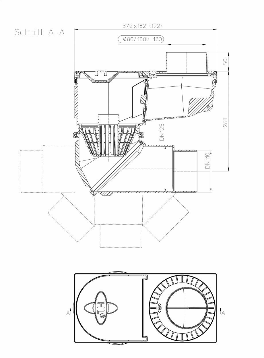 Pagina 1 - Caseta ape pluviale cu racord de evacuare orientabil - desen tehnic HL Hutterer &...