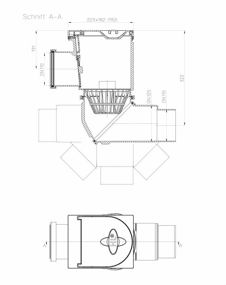 Pagina 1 - Caseta ape pluviale pentru burlane inglobate in fatada - desen tehnic HL Hutterer &...