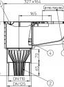 Caseta ape pluviale cu racord evacuare vertical fix - desen tehnic