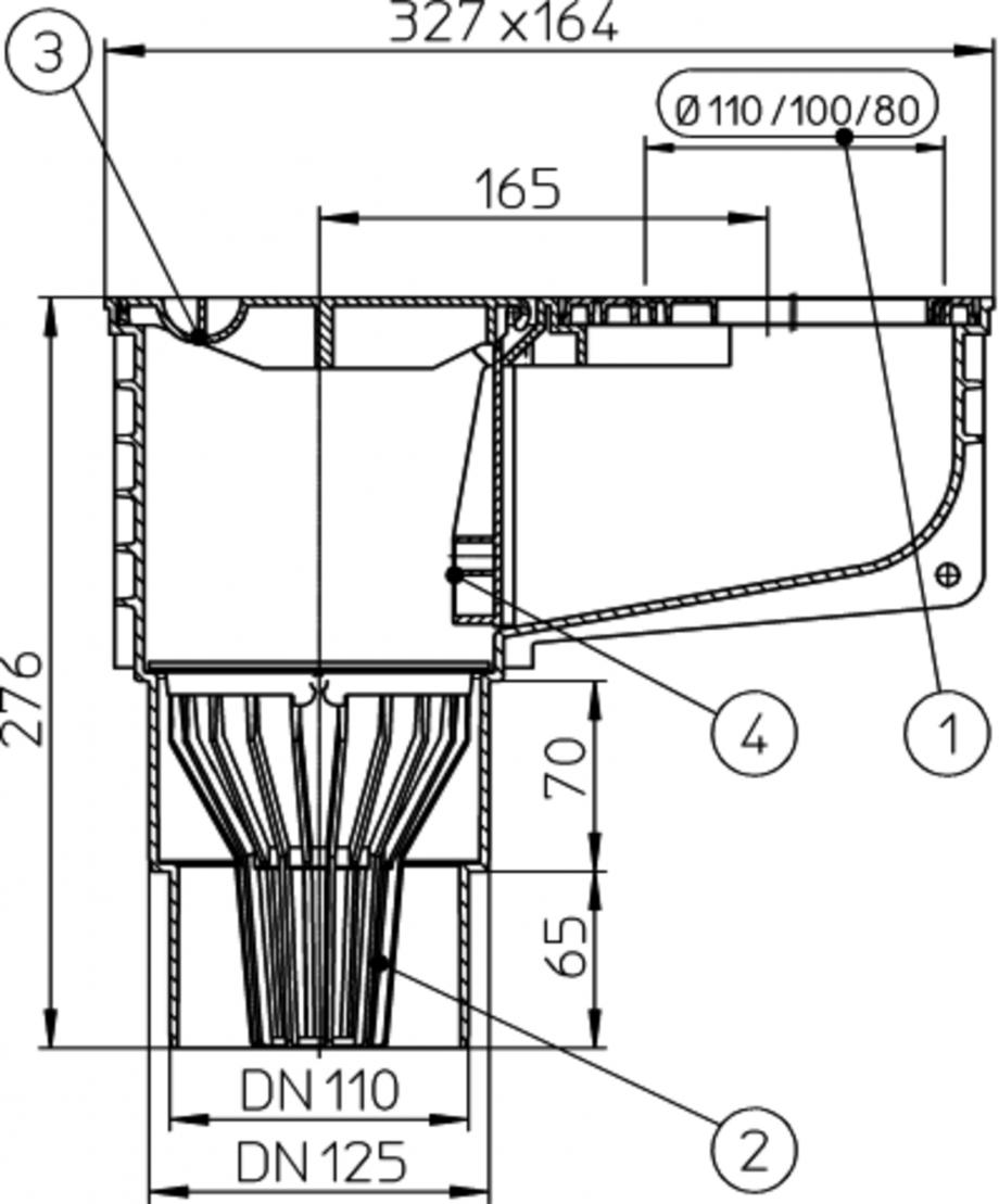 Pagina 1 - Caseta ape pluviale cu racord evacuare vertical fix - desen tehnic HL Hutterer &...