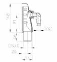 Desen tehnic - Sifon pentru masina de spalat DN40 cu montaj aparent cu capac alb HL