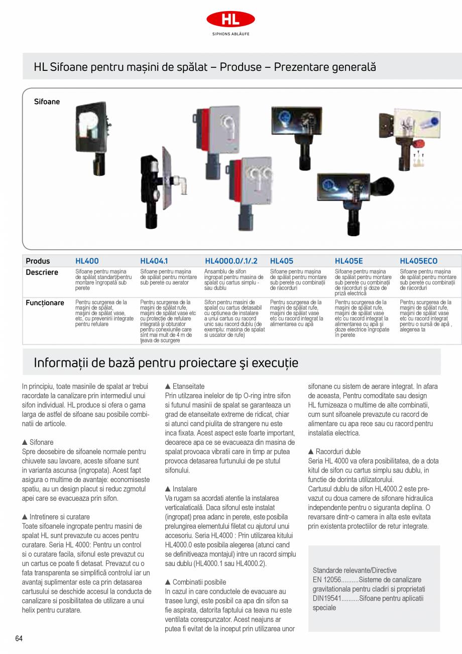 Pagina 2 - Sifoane pentru racordarea la canalizare a masinilor de spalat HL Hutterer & Lechner...
