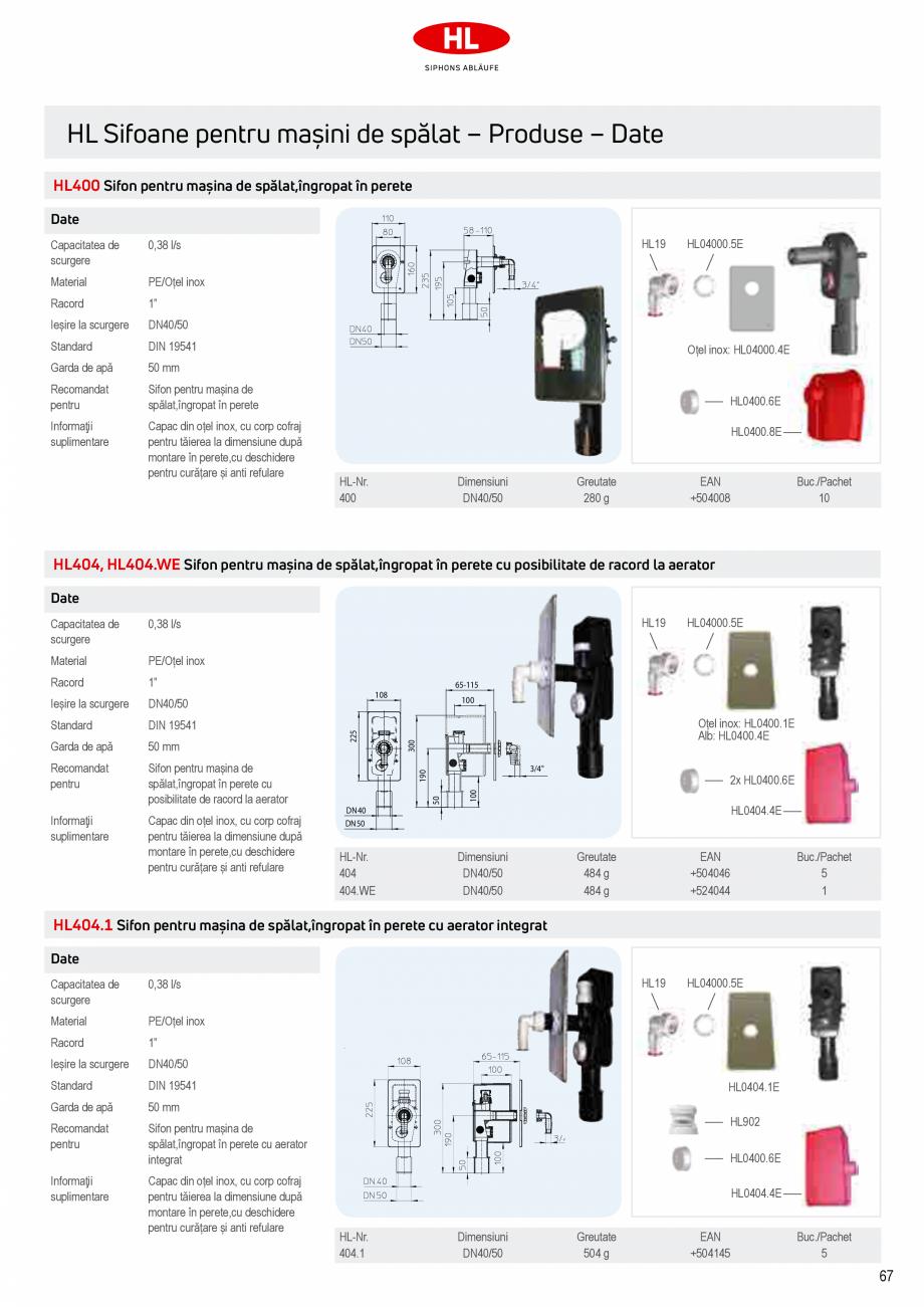 Pagina 5 - Sifoane pentru racordarea la canalizare a masinilor de spalat HL Hutterer & Lechner...