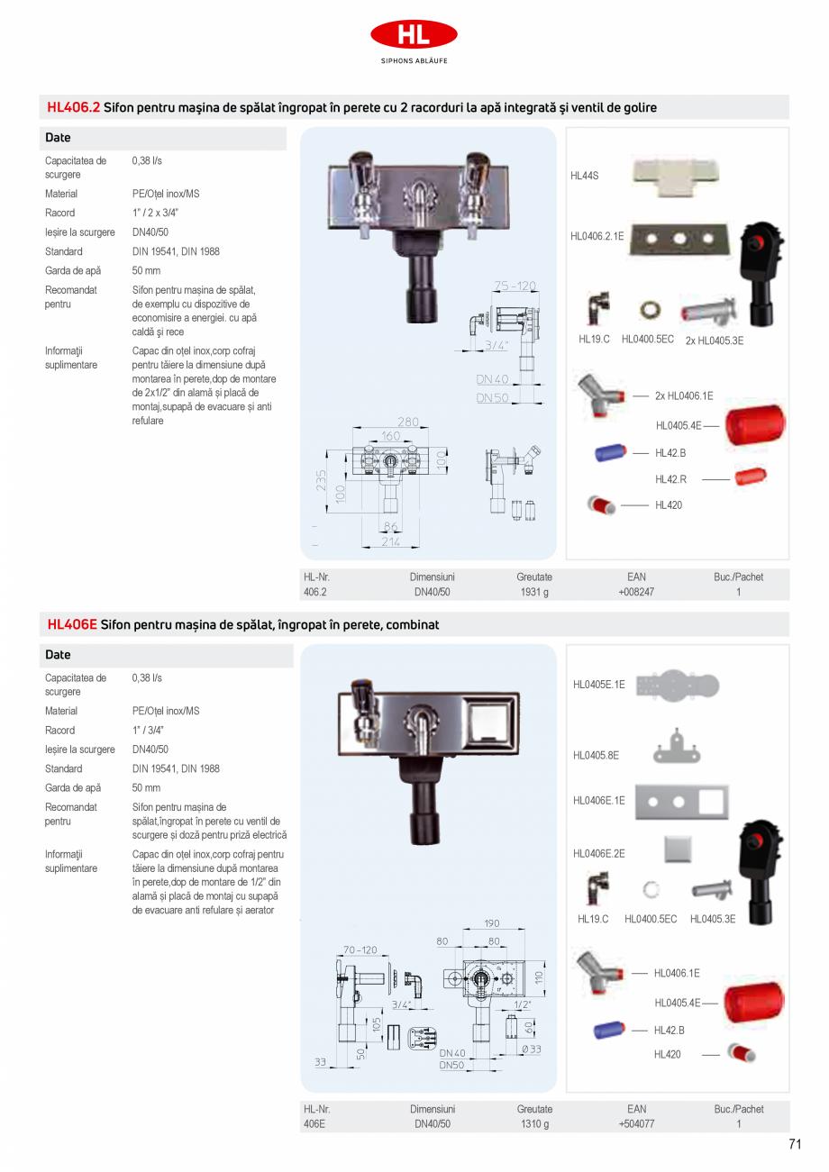 Pagina 9 - Sifoane pentru racordarea la canalizare a masinilor de spalat HL Hutterer & Lechner...