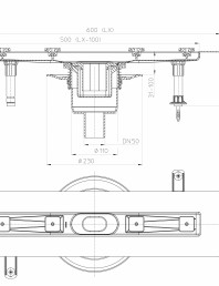 Desen tehnic: Rigola din inox pentru dus cu racord iesire vertical DN50, flansa 600 mm