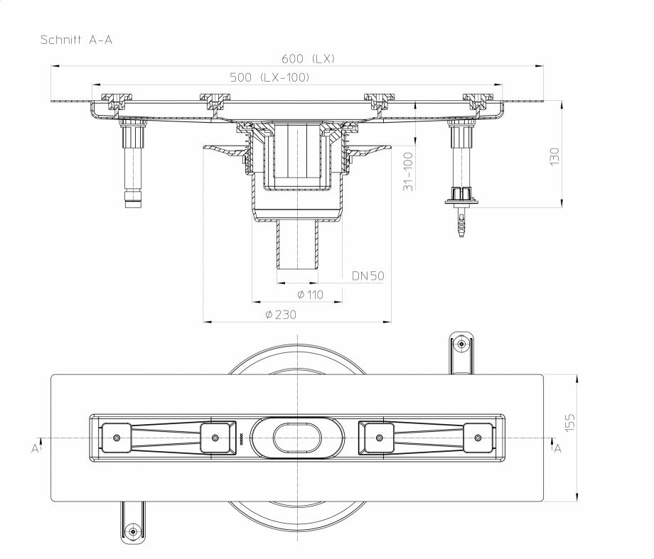 Pagina 1 - Desen tehnic: Rigola din inox pentru dus cu racord iesire vertical DN50, flansa 600 mm HL...